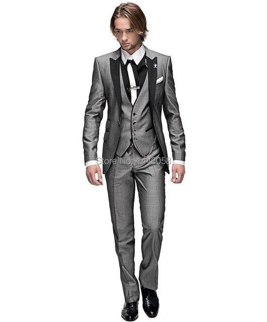 2016 Italiano Padrinos de Boda Traje de Negocios Por Encargo Vestido Formal de Los Hombres Trajes de boda Del Novio Esmoquin Para Hombres 3 Unidades Juego Delgado ajuste