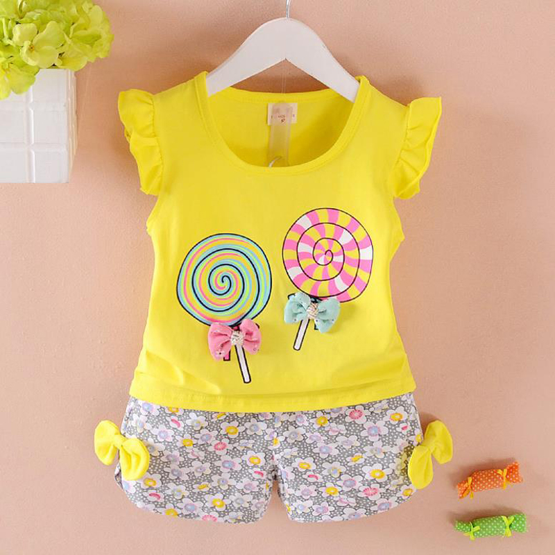 TurnFish summer Baby girl 2Pcs kid Clothes children