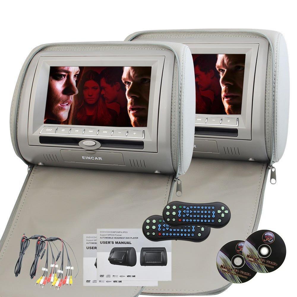 Headrest Car Pillow Monitor Digital Dual DVD Player Twin Screens USB/SD/IR/FM Transmitter/32 Bit Games/Zipper Cover/Remote Game
