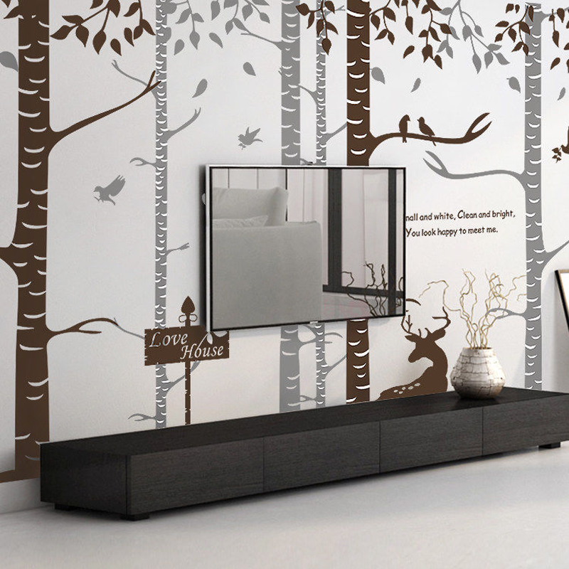 Large Birch Tree Wall Sticker Branches Birds Removable Nursery Art Decals Pvc Wallpaper Forest Elk Sticker For Living Room Decor