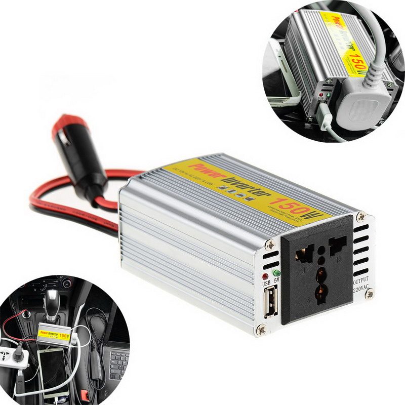 150W Outlets Power Inverter DC 12V To AC 220V Car Adapter Laptop Smartphone T0.05 1 pc 500w outlets power inverter dc 12v to ac 220v car adapter laptop smartphone vek04