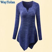 WayToIan Summer t-shirt Women Print t shirt long Sleeve O-Neck Tie-Dye Long Tunic Top Irregular Hem T-shirt Loose Female Tops