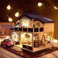1:24 casa de Bonecas Em Miniatura DIY Artesanato Voice-activated LED Light & Música com Capa Provence Artesanal 3D Casa De Bonecas Brinquedos menina Gits