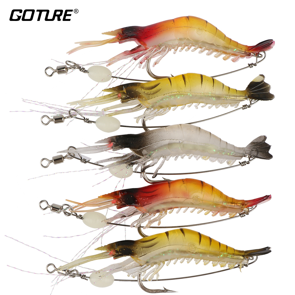 Goture 5pcs / lot Mjukt Fiske Lures Luminous Shrimp Lure Silikonbete Artificiell Fish Lure 6g / 9cm