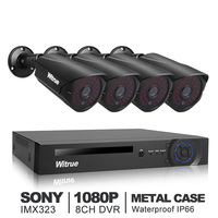 Witrue 8CH Video Surveillance System 1080P AHD DVR 4pcs 2 0MP Sony IMX323 Surveillance Camera Outdoor