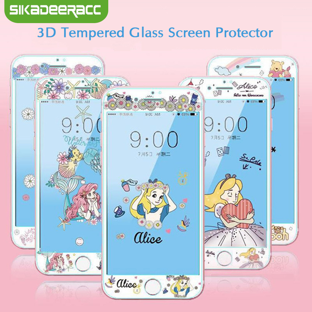 3D Tempered Glass Screen Protector For IPhone 7 8 Plus 6 6s Plus Princess Pooh Dog Alice Soft Edges Full Cover Glass Film SJ24