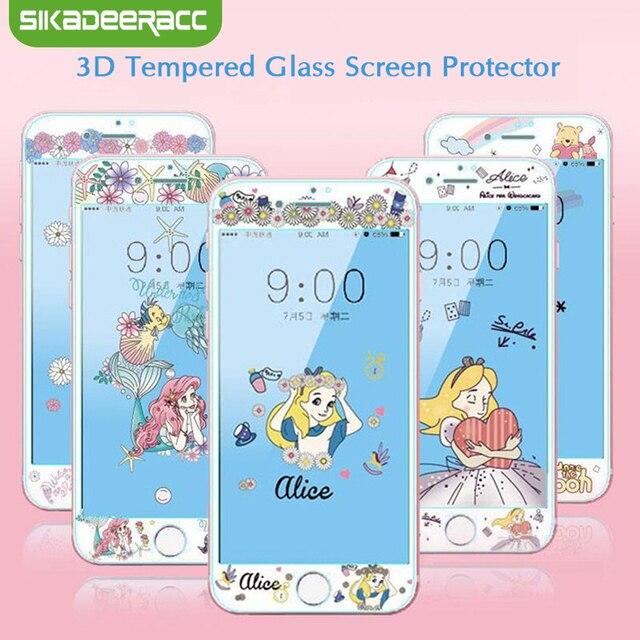 Protector de pantalla de vidrio templado 3D para iPhone 7 8 Plus 6 6 s Plus princesa Pooh perro Alice bordes suaves cubierta completa de película de vidrio SJ24