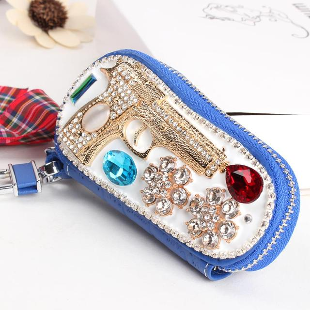 Gun Handgun Flower Blue Real Cowhide Leather Crystal Purse Bag Key Holder Wallet  Jewelry Women friend Creative Gift