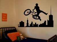 Removable Amazing Sports Decals Sport Bike BMX Room Bedroom Decorating Ideas Stickers Walls Kids Boys Room