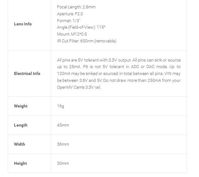 Geekcreit® OpenMV3 Cam M7 Smart Camera Image Processing Color Recognition Sensor Module Visual Inspection Line