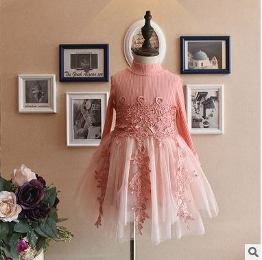 2017 New Baby Girls Lace Flower Mesh Dress,knitted Top Tutu Princess Dresses Fashion Girl Kids Party Dress Clothes