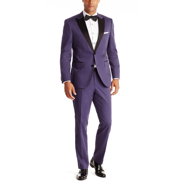 New Formal Purple suit With Notch Lapel Custom Size Groom Best Man Wedding Tuxedos