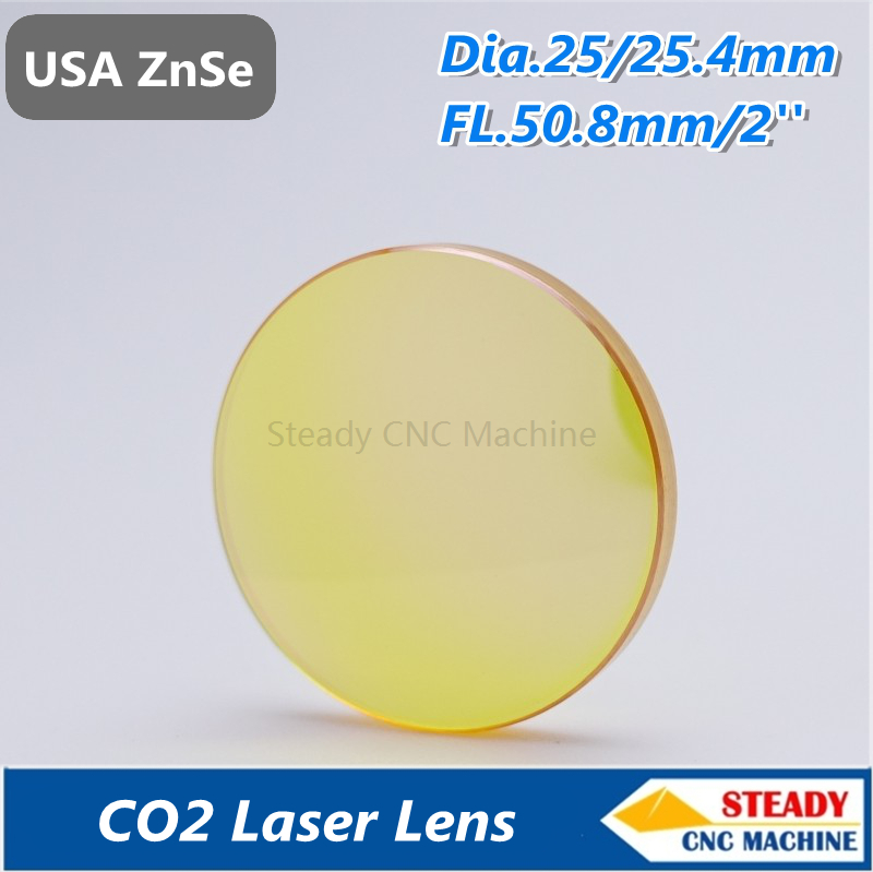 top quality USA ZnSe CO2 laser lens 25.4mm diameter 50.8mm focus length for laser engraver pvd znse co2 laser focus lens diameter with 12mm focus length 63 5mm thickness 2mm