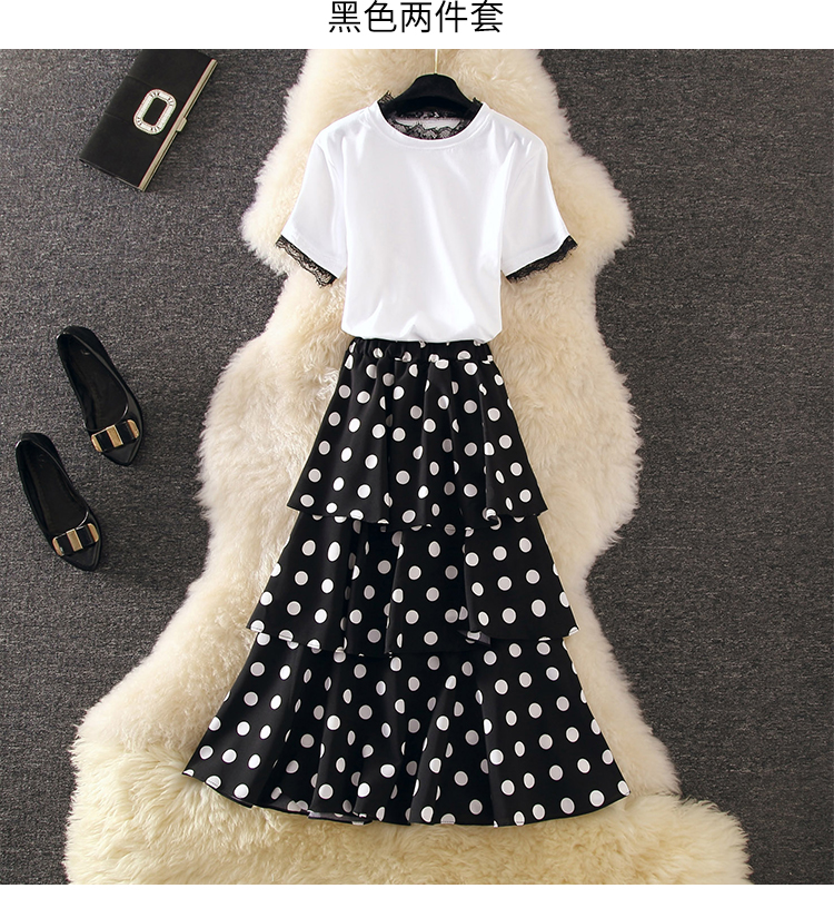 Patchwork Lace Tassel Short Sleeves T-Shirts+Polka Dot Cake Ruched Midi Skirts 2-pieces Sets Casual Vacation Women's Clothes