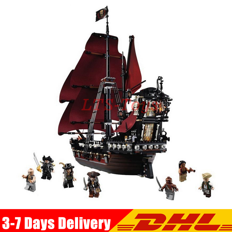 DHL Lepin 16009 1151pcs Queen Anne's Revenge Pirates of The Caribbean Building Blocks Set Bricks Compatible Legoing 4195 lepin 16009 caribbean blackbeard queen anne s revenge mini bricks set sale pirates of the building blocks toys for kids gift