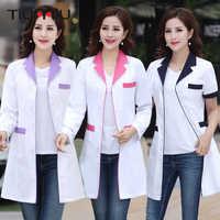 New Arrival Summer Hospital Doctor's Uniforms Lady Short Sleeve Medical Clothes Beauty Salon V-neck White Lab Coat Nurse Uniform