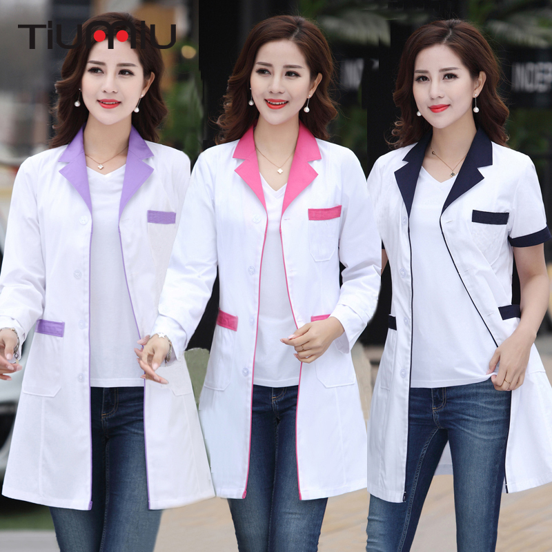 New Arrival Summer Hospital Doctor's Uniforms Lady Short Sleeve Medical Clothes Beauty Salon V-neck White Lab Coat Nurse Uniform image