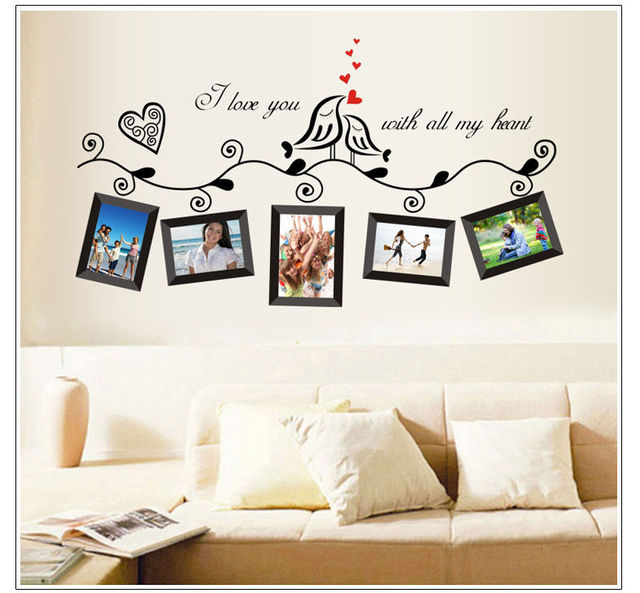 vinyl photo frame family quotes wall stickers living room decor home ...