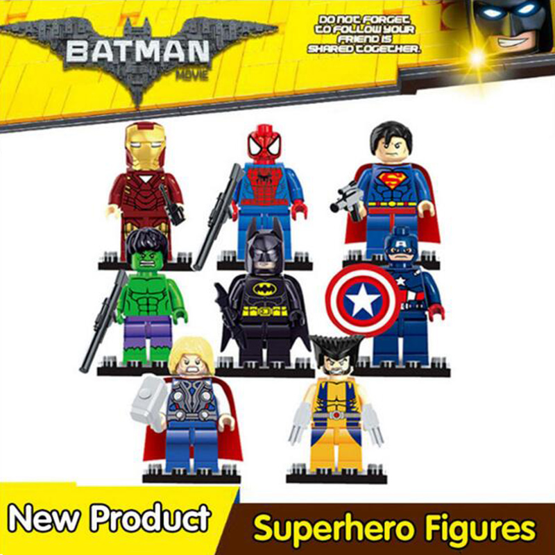 Супер герой строительные блоки Бэтмен, Железный человек Робин Халк, Человек-паук Ninjago мастер Wu совместимый с legoingly ниндзя фигурки gh22