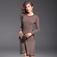 European American Brand Women Striped Lacing Knitted Sweater Dresses Female Spring Autumn Elegant Sexy Work Office