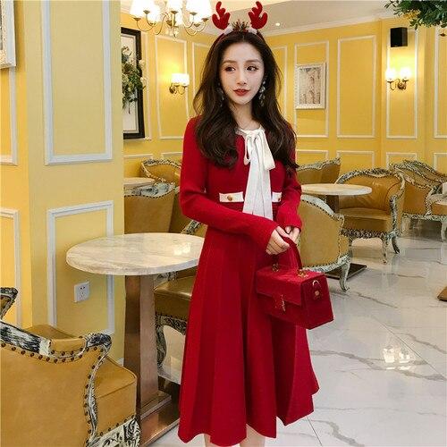 Patchwork En Élégant Printemps Plus ligne Tricot Robes Rouge Manches Arc rose bleu À La Vêtements Mode A Nouvelle Femmes Noir Taille rouge coréen Robe Femme 2019 Longues 6qtd1x7w1