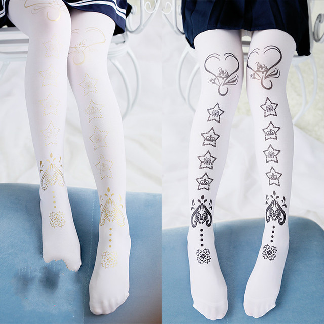 Princess sweet lolita Stockings velvet five pointed star printing G13