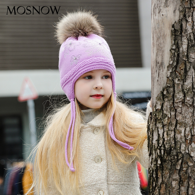 Apparel Accessories 2019 New Style Winter Baby Knitted Caps Real Fox Fur Pompom Hat Knitted Boy Cap Cotton Ears Protect Warm Hat Girls Thick Beanies Hats B-9387