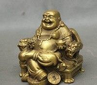 Chinese Brass Sit Dragon Chair Wealth Money Happy Laugh Maitreya Buddha Statue