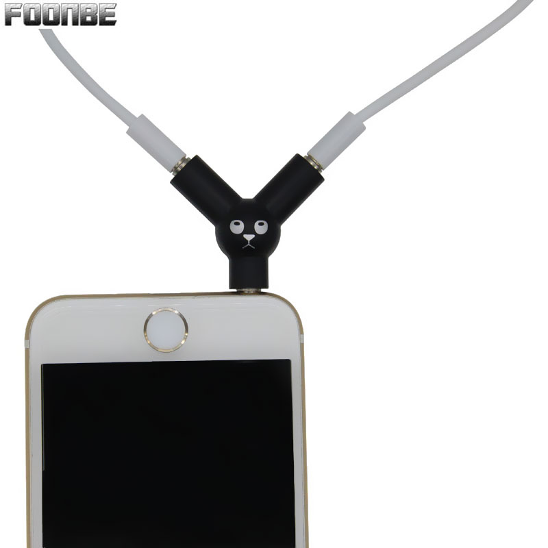 FOONBE New Y Type Jack 3.5mm To Dual 3.5mm Headphone Male To Female Audio Cables Splitter Adapter Plug Stereo Earphone Splitters mini stereo male 3 5mm jack 1 to 2 dual female earphone headphone y splitter cable cord audio adapter plug for mp3 cell phone