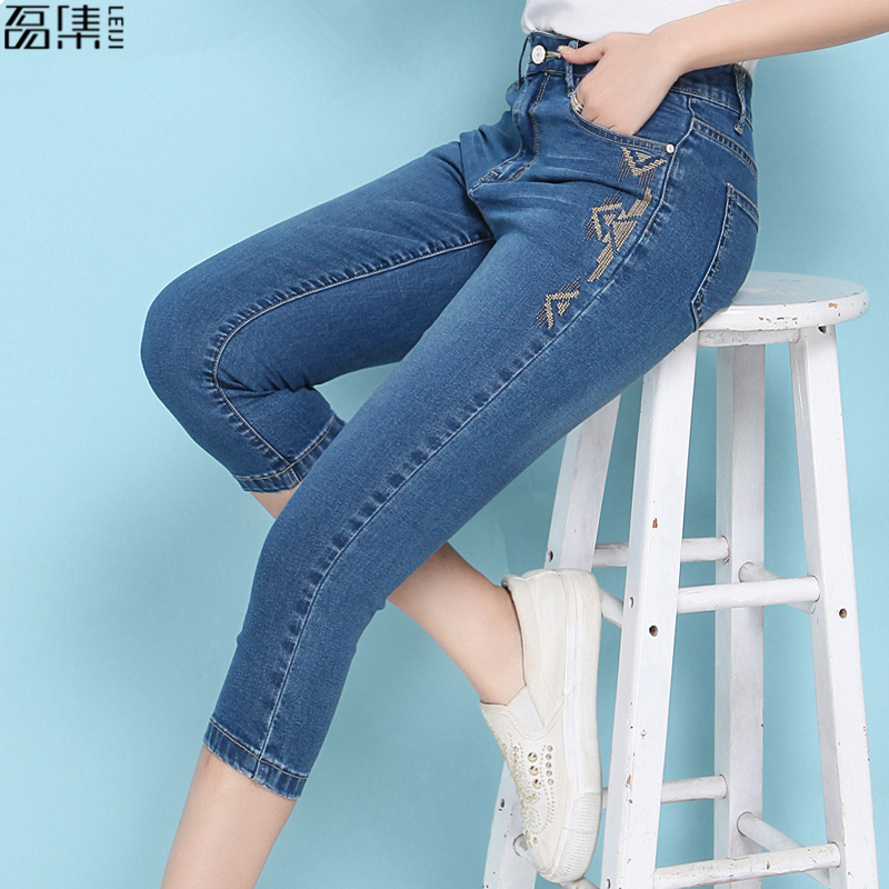 Embroidery  Jeans For Women High Waist  Plus Size   Autumn  Full Length   Thin  Softener Skinny Female  Pencil Denim  Pants  6XL