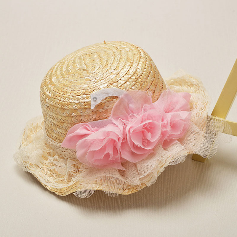 Fashion Summer Flower Design Straw Beach Cap Sun Hat For Children Temperament Flowers Straw Caps Sea Beach Church Sunshade Hats