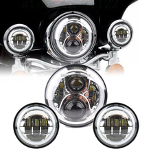 1 Set Chrome 7 inch Half Angel eyes LED Headlight and 4.5inch Angel eyesFog lights Kit For 1998-2009 Yamaha V star 650 Classic new chrome drive shaft cover for yamaha vstar v star 650 1998 2012 1100 1999 2009 customs classic