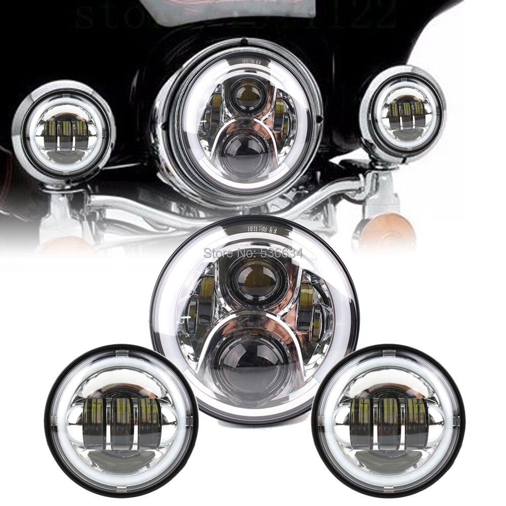 7-дюймовый светодиодный круглый проектор фары Привет/низкий Венчик Н4 соответствие 4.5-дюймовый LED проходящих Противотуманные фары для Ямаха V-звезда 650 классический