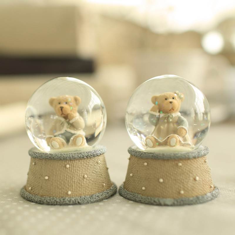 Creative Home Decoration Accessories terrarium Desktop Bear Crystal Ball Unique Cute Miniatura Crystal Crafts decoracion hogar