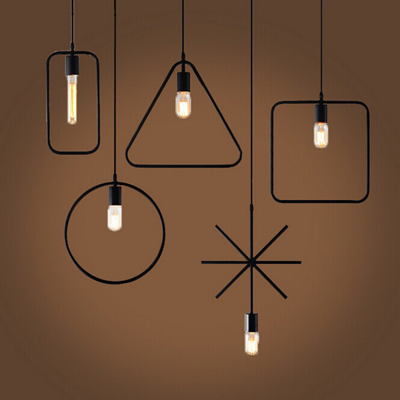 Retro Vintage Art Deco Geometry Pendant Light Lamp Loft Creative Style at Living Room Black Metal Cord Pendant Lighting Fixtures