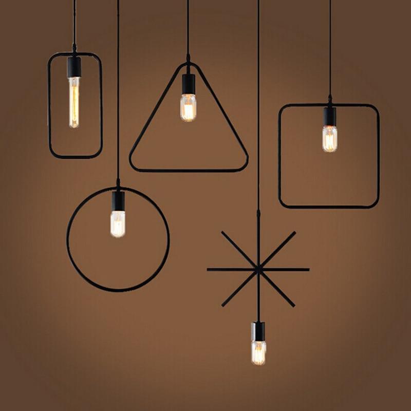 Retro Vintage Art Deco Geometry Pendant Light Lamp Loft Creative Style at Living Room Black Metal Cord Pendant Lighting Fixtures