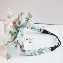 1pc Cute chiffon Floral Bowknot Braid Headbands Ladies Girls Rabbit Ears Twist braid Hairband Elastic Hair Accessories