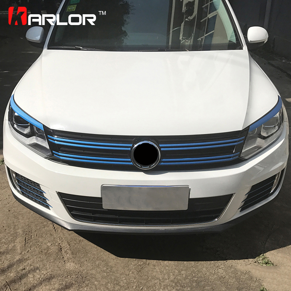 Carbon Fiber Grille Front Bumper Lamp Eyebrow Protection Film Car Stickers And Decals Car-styling For VW TIguan Accessories