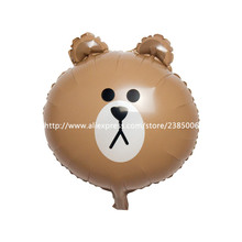 25pcs/lot Child Toys Animal Brown Bear Balloons Air-filled Ballons Foil Birthday Party Decorations Kids Balloons Cute Gift