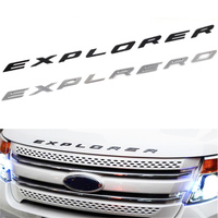 3D EXPLORER Letters Hood Emblem Silver Chrome Black Sticker For 2011 2012 2013 2014 2015 2016