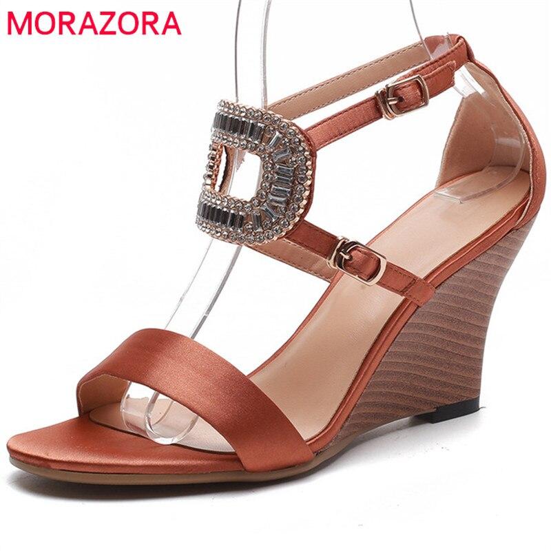 MORAZORA 2018 new arrival women sandals silk elegant party wedding shoes simple buckle summer shoes comfortable wedges shoes цена