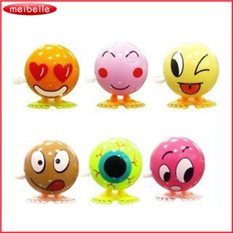 Toddler Toys Bouncing Emoj Environment Friendly Materials Colorful Funny Face Wind Up Jumping Little Figures 5pcs/LOT