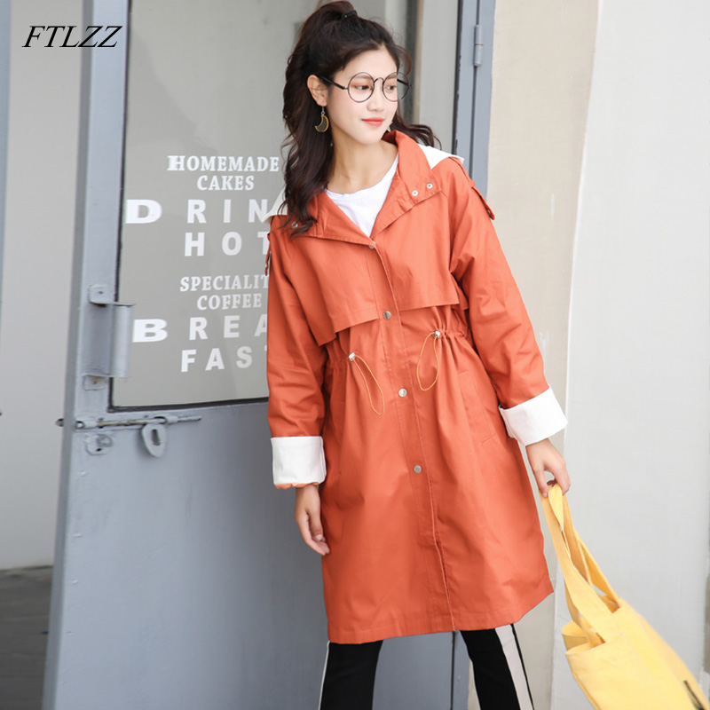 FTLZZ Casual Women Long   Trench   Coat Windbreaker Coat Hooded Single Breasted Sash Tie Up   Trench   Coat Women's Clothing Outerwear