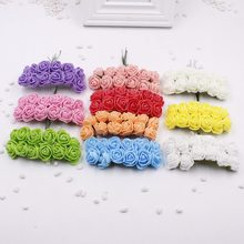 12 pcs / lot NEW Foam PE Artificial Pink Flower For Wedding Home Party Decoration Mariage DIY Scrapbook Handmade Gar