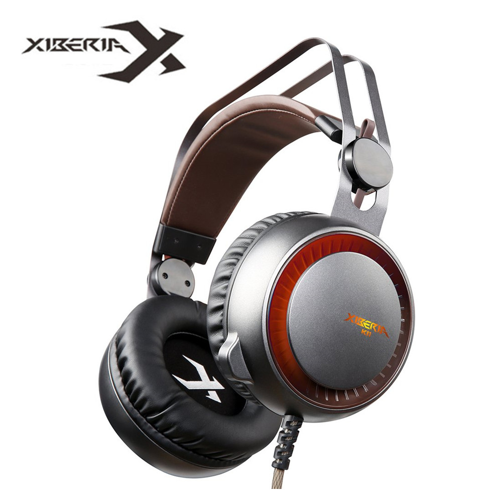 XIBERIA K11 USB Gaming Headset with Microphone Volume Control and LED Light Deep Bass Stereo Surround Over Ear fables volume 11 war and pieces