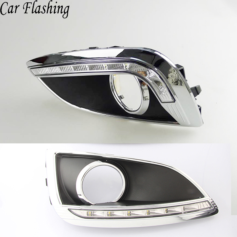 Car Flashing 2Pcs DRL For Hyundai IX35 2010 2011 2012 2013 LED DRL Daytime Running