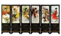 MINI Screen Folding Screens 6 Joined Panels Decorative Painting Wood Byobu Beauty Figure Twelve Ladies of Jinling 46.5x24x0.6cm