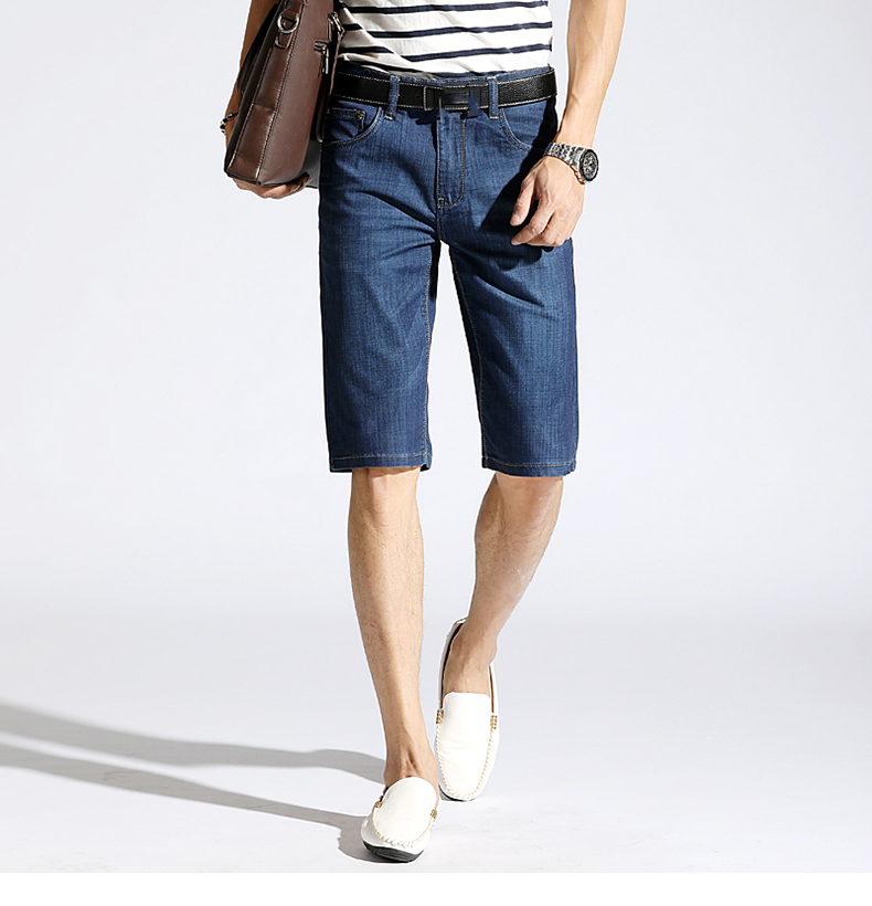 KSTUN Summer Denim Shorts Jeans Men Blue Slim Straight Business Casual Knee Length Shorts High Quality Elastic Brand Clothes 38 14