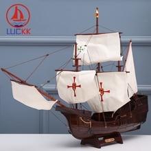 LUCKK 70CM Classics  SANTA MARIA DIY Wooden Model Ships dark red Home interior Assembling wood Decoration accessories souvenir