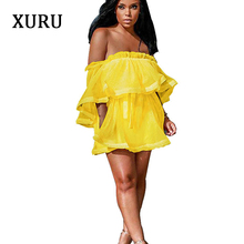 XURU Women Sexy Off Shoulder Voile Dress Ruffles Slash Neck Belted Mini Party Club See Through Yellow